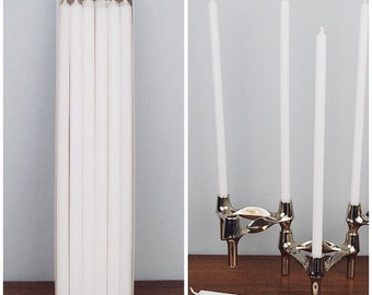 """12 Candles * white  11.8"""" long * Ø 0.5"""" * 30cm / Ø 1.2 cm * suitable for BMF * NAGEL * QUIST * stackable Candle Holders * Mid Century Home"""