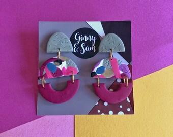 Grey and Purple Aubrey Earrings || Polymer Clay Earrings
