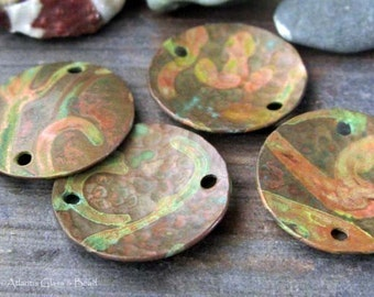 AGB artisan verdigris patina copper jewelry findings domed discs 13mm Kleon 2 pieces
