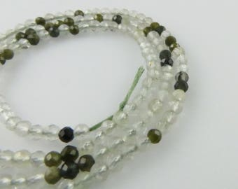 2mm Faceted Round Green Rutilated Quartz Gemstone Beads - Full Strand, Natural