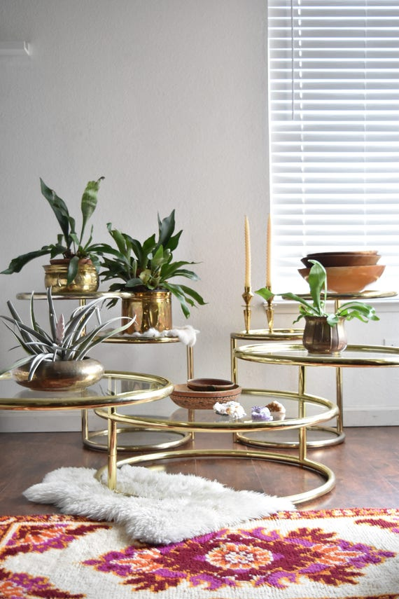 milo baughman style hollywood regency gold plated 3 tier swivel end table / coffee table