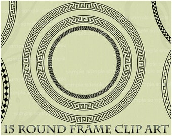 Round Frame Clipart Frame Clip Art Greek Key Circle Label Photo Frame Border Digital Scrapbook Wedding Invitation Photo Frame Scrapbooking