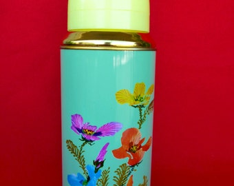 New Old Stock 80's Thermos - Vintage Thermos - Flower Thermos -Travel Thermos 20oz/0.62lt SUNFLOWER China Nr31