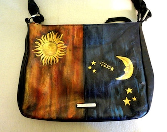 "Stone and Co. Leather Handbag, ""Day & Night"" Hand Painted, One of a Kind"