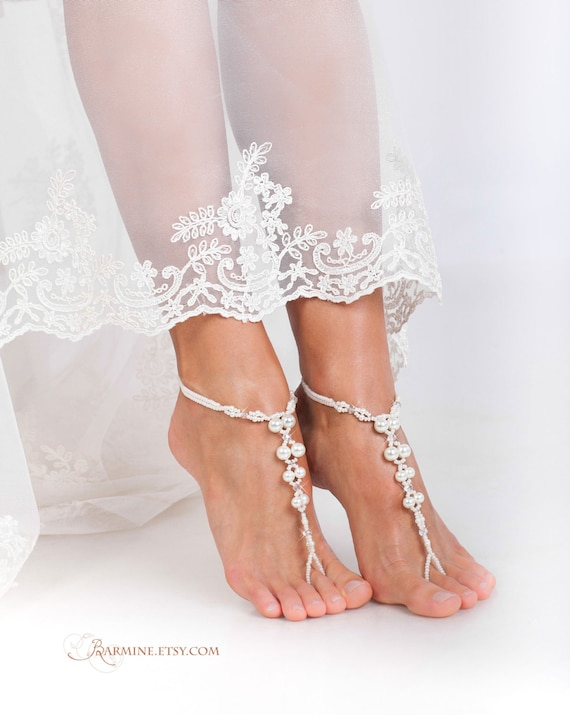 Crystal Pearl Barefoot Shoes sandal wedding Barefoot barefoot Bridal and Beaded SALE jewelry Sandals Beach foot Sandals PROMO Bridal qHwxCZ