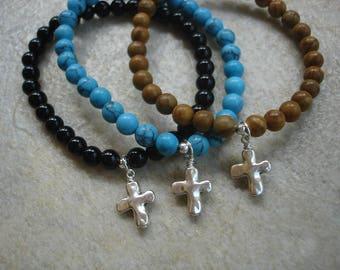 Stackable Stretch Bracelet with Cross Bead Charm, Gemstone Jewelry, Boho Jewelry, Cross Jewelry, Christian Jewelry
