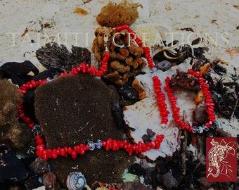 Precious Italian Red Coral and Swarovski Beads Necklace and Bracelet Set