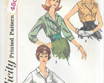Simplicity 3559 UNCUT 1960s 1960s Blouse with Notched Collar Vintage Sewing Pattern Bust 34 or 36 Sleeveless Top