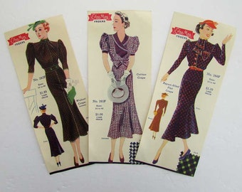 Set of 3 Original Vintage 1930's Larkin Co., Edna May Club  Frocks Dress Advertising Prints for Framing, Promo Flyers, 1930's Dresses, Hats
