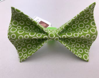 Green Circles Dog Bow Tie in Small, Medium or Large