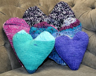 Knit Pillows - Hearts - 5 pillows available