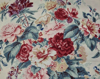 Shabby Chic Laura Ashley cotton fabric home decor upholstery fabric Floral Fabric English Country floral bouquet farmhouse decor pillows