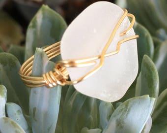 Handmade in Hawaii white sea glass ring, Hawaii sea glass wire ring, Beach ring Size 6.5