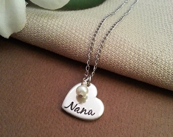 Tiny Heart Nana Necklace | Dainty Grandmother Necklace | Nana Necklace With Pearl Dangle | Gift For Nana