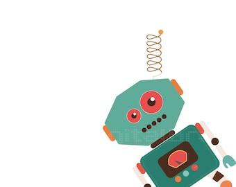 Robots - Ilustracion Infantil -Arte Robots - Ilustracion - Decoracion Infantil - Niños - Bebes- Arte Dormitorio Niños