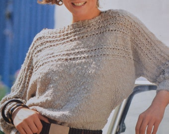 PDF sideways sweater vintage knitting pattern one piece lady's sweater pdf INSTANT download pattern only pdf 1980s