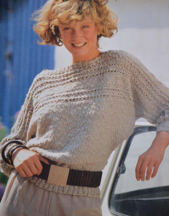 Pdf Sideways Sweater Vintage Knitting Pattern One Piece