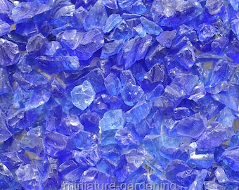 Beach Glass Pebbles, Color Options: Blue for Miniature Garden, Fairy Garden