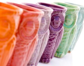 ceramic tumbler -  pottery cup - kids cup - owl tumbler - oil defuser - desk vase - pencil holder - office gift - air plater - oil diffuser