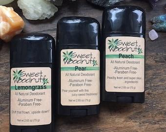 Peach Deodorant, Organic Deodorant, Natural Deodorant, Deodorant Stick, Aluminum Free, Handmade Deodorant, Paraben Free