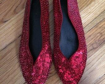 Ruby Sequin Slipper Shoes Vintage