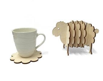 Wooden Sheep Coaster Set, Handmade Animal Coasters, Home Decor
