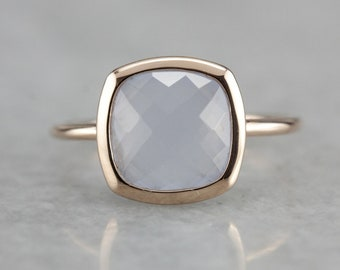 Rose Gold Blue Chalcedony Ring, Blue Stone Ring, Right Hand Ring, Solitaire Ring ZPHY78UZ