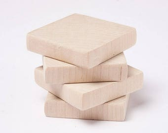 "10 pcs unfinished 1 3/4"" (4,5cm) Wood Squares for wood crafts, wooden supplies"