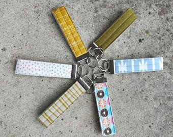 Wristlet Key Fobs, 6 Modern Fabric Options, Ready to Ship