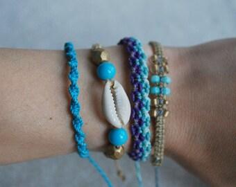 Boho Bracelet Set / Surf Bracelet / Bohemian Bracelets / Friendship Bracelet / Knotted Jewelry / Macrame Bracelets / Vegan Jewelry