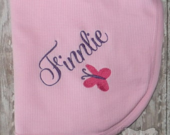 Embroidered Receiving Blanket Pink & Purple with Butterfly