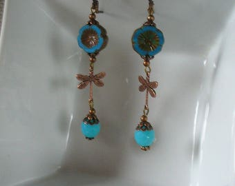 Copper and turquoise Dragonfly earrings