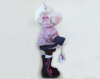 """Artist horse Art doll Pauline Stuffed animal interior doll horse  Collectible toyOOAK 21"""" 53cm Soft Toy Cloth doll room decor Home Pink doll"""