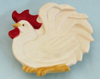 White Rooster Tea Bag Holder or Small Spoon Rest Ceramic Earthenware
