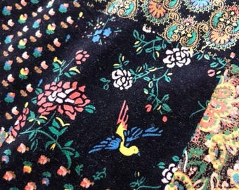 Sweet Vintage 1970's Velvet Maxi Skirt with Patch Work Squares -- Size M
