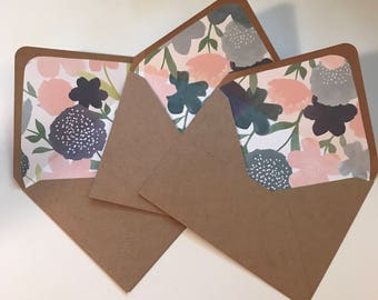 Midnight Flowers Lined Envelopes - Pack of 8