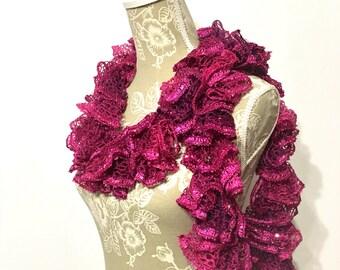 Crochet Ruffle Scarf,  Fuchsia Scarf, Fashion Scarf, Frilly Scarf, Ruffle Scarf, Ruby Pink Crochet Scarf, Sashay Scarf, Ruffled Scarf, Gift