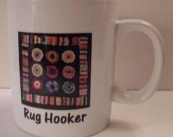 PrimiTive FolKart Penny Hooked Rug Coffee Mug/Cup  We Ship Internationally