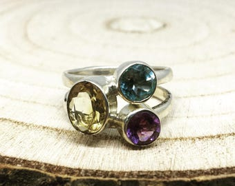 3.63cts Amethyst Citrine and Topaz 925 Silver Ring Size R-S
