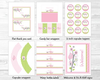 Pink Bird Baby Shower Party Package / Bird Baby Shower / Bird Baby Shower Decorations / Pink & Green / INSTANT DOWNLOAD A349
