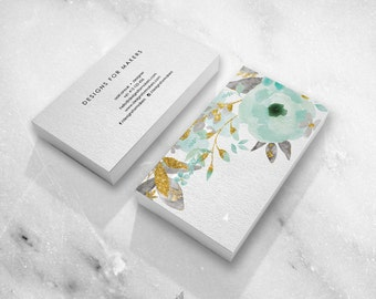 Pink watercolor business card premade business cards watercolor business card premade business cards mint flowers gold glitter minimal design beautiful typography hand illustrated colourmoves