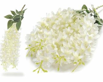 White Wisteria Arificial Branches 3 pcz Flowers Cascade