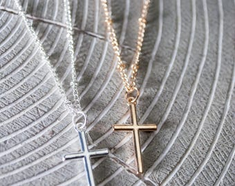 Cross Necklace - Silver Cross - Gold Cross - Small Cross Necklace
