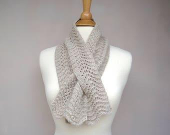 Beige Keyhole Scarf, Pull Through Neck Scarf, Natural Off White, Elegant Luxury, Merino Wool Alpaca Angora Silk, Gift for Mom, Hand Knit