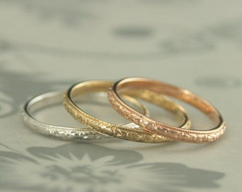 10K Gold Ring 10K Gold Band Antique Style Ring Antique Style Band Gold Wedding Ring Orange Blossom Band Thin Renaissance Women's Gold Band