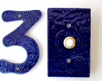 Rectangle Doorbell Tile Plate Cover With Standard Button   Paisley Design    Custom Color Choice