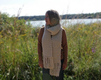 Womens Scarf, Crocheted Long Scarf, Crochet Fringe Scarf, Winter Scarf, Made to Order