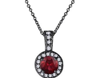 Red Garnet And Diamonds Pendant Necklace 14K Black Gold Vintage Style 1.23 Carat Halo Pave Handmade