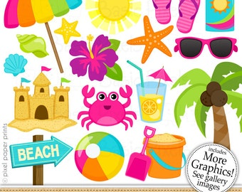 Beach Clipart 2- Digital Clip Art - Personal and commercial use