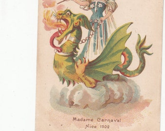 Fairy Butterfly Lady Riding Dragon Madame Carnival Nice France 1902 Undivided Antique Postcard